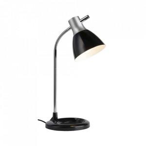Lampa birou argintie/neagra din metal si plastic 52 cm Jan Brilliant