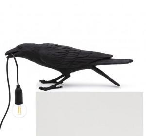 Lampa neagra din rasina pentru exterior 10,5 cm Bird Playing Seletti