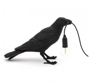 Lampa neagra din rasina pentru exterior 18,5 cm Bird Waiting Seletti