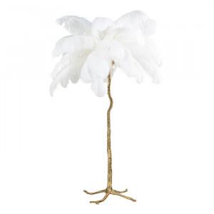 Lampadar alb/auriu din pene si cupru cu 5 becuri 175 cm Burlesque Richmond Interiors