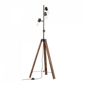Lampadar negru antichizat/maro din metal si lemn cu 4 becuri 138 cm Woodhill Brilliant