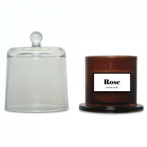 Lumanare parfumata cu suport maro chihlimbar/transparent din sticla 11 cm Rose Opjet Paris