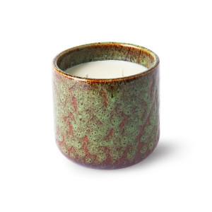 Lumanare parfumata cu suport verde menta din ceramica si ceara 10 cm Floral Boudoir HK Living