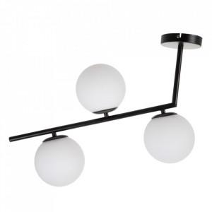Lustra alba/neagra din sticla si metal cu 3 becuri Retuerta Ixia