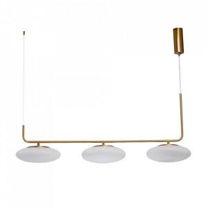 Lustra aurie/alba din sticla si metal cu 3 LED-uri Auksis MW Glasberg
