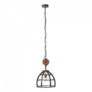 Lustra neagra/maro din lemn si metal Matrix Brilliant