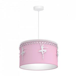 Lustra roz din metal si textil Baletnica Milagro Lighting