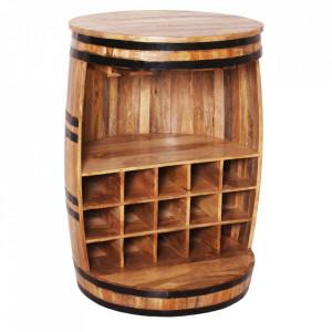 Masa bar cu suport sticle maro/neagra din lemn de mango 67 cm Rustic Sit Moebel