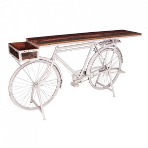 Masa bar maro/alba din lemn si metal 41x190 cm Bicycle Sit Moebel