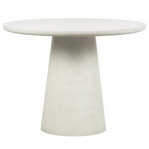 Masa dining alba din fibre pentru exterior 100 cm Damon Woood