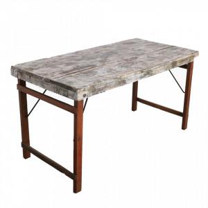 Masa dining alba/maro din lemn 70x160 cm Fold Raw Materials