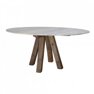 Masa dining alba/maro din marmura si lemn 105x180 cm Clara Bloomingville