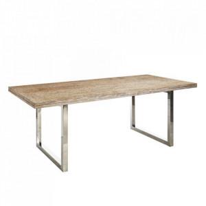 Masa dining argintie/maro din lemn si otel 100x200 cm Selva Denzzo