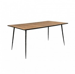 Masa dining din lemn reciclat stejar si metal 160x90 cm Pepper Brown Dutchbone