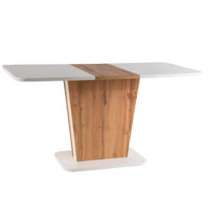 Masa dining extensibila alba/maro din lemn 69x110(145) cm Calipso Signal Meble