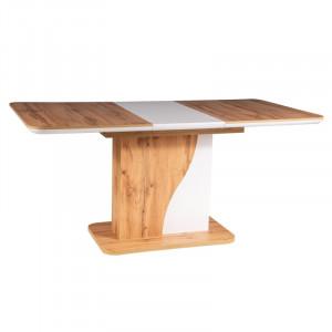 Masa dining extensibila alba/maro din lemn 80x120(160) cm Syrius Signal Meble