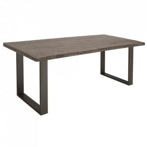 Masa dining gri din lemn de mango si fier 90x200 cm Iron Craft Invicta Interior