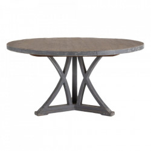 Masa dining maro/gri din lemn de pin 152 cm Gisors Denzzo