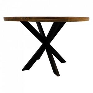 Masa dining maro/neagra din lemn de mango si fier 120 cm Round Ali HSM Collection