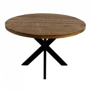 Masa dining maro/neagra din lemn de mango si fier 130 cm Round Ali HSM Collection