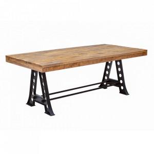 Masa dining maro/neagra din lemn de mango si metal 100x240 cm Industrial Invicta Interior