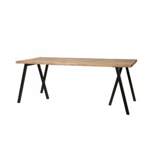 Masa dining maro/neagra din lemn de stejar si fier 90x200 cm Waregem Lifestyle Home Collection