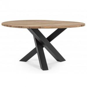 Masa dining maro/neagra din lemn si aluminiu pentru exterior 150 cm Brandon Bizzotto
