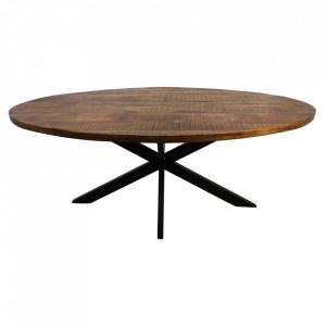 Masa dining maro/neagra din lemn si fier 100x200 cm Oval HSM Collection