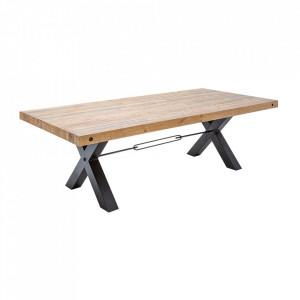 Masa dining maro/neagra din lemn si fier 100x240 cm Thor Invicta Interior