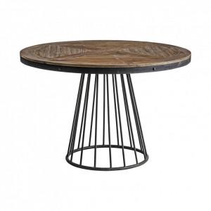 Masa dining maro/neagra din lemn si metal 120 cm Lavik Vical Home