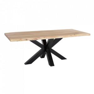 Masa dining maro/neagra din lemn si metal 98x200 cm Vazia Ixia