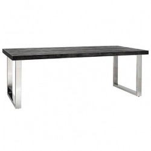 Masa dining neagra/argintie din lemn si inox 90x180 cm Blackbone Richmond Interiors