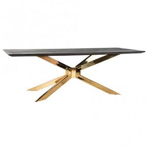 Masa dining neagra/aurie din lemn si inox 100x240 cm Blackbone Matrix Richmond Interiors