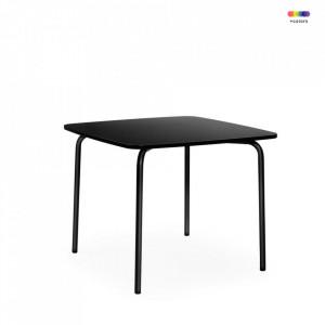 Masa dining neagra din placi laminate si otel 90x90 cm My Table Normann Copenhagen