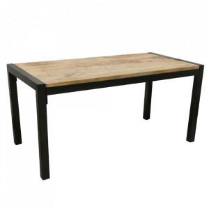Masa dining neagra/maro din lemn de mango si metal 80x160 cm Vintage Raw Materials
