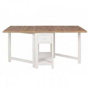 Masa dining pliabila maro/alba din lemn si MDF 80x160 Elvia Bizzotto