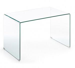 Masa dreptunghiulara transparenta din sticla 70x125 cm Burano Kave Home