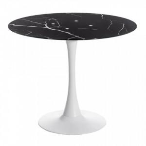 Masa neagra rotunda din metal si sticla 90 Tube Ixia