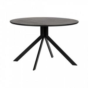 Masa rotunda neagra din metal si MDF 120 cm Bruno Woood