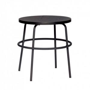 Masa rotunda neagra din metal si MDF pentru cafea 45 cm Blair Hubsch