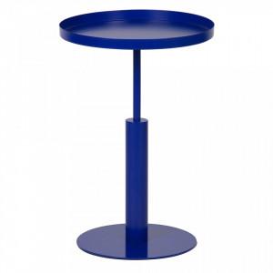 Masuta albastra din metal pentru cafea 40 cm Silke Woood