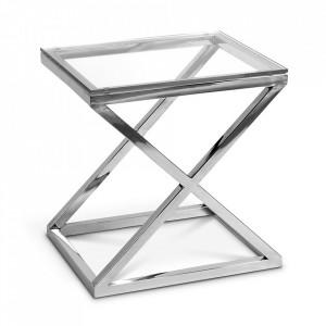 Masuta argintie din sticla si inox 46x56 cm Criss Cross Eichholtz
