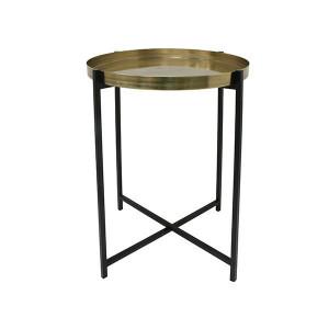 Masuta cafea maro alama/neagra din metal 40 cm Brass Coffee HK Living