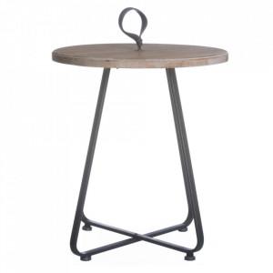 Masuta maro/neagra din lemn de brad si fier 50 cm Alison Ixia