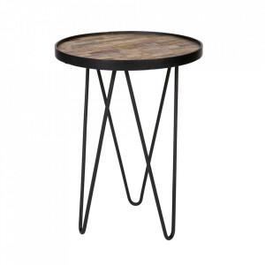 Masuta maro/neagra din metal si lemn de tec reciclat  39 cm Lev Woood