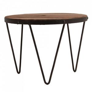 Masuta neagra/maro din lemn si fier 60 cm Sudbury Vical Home