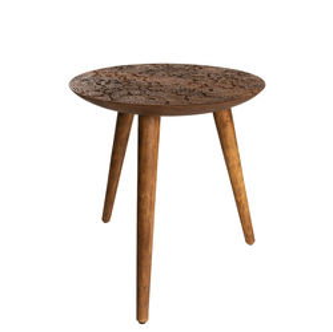 Masuta rotunda de cafea din lemn de trandafir By Hand L Dutchbone