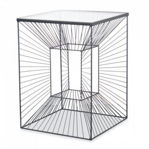 Masuta transparenta/neagra din sticla si metal 40x40 cm Brow Opjet Paris
