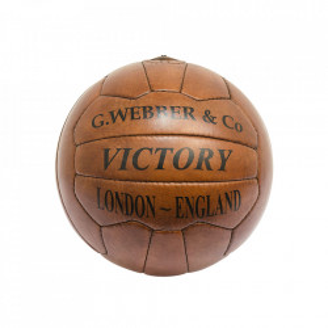 Minge decorativa maro din piele 23 cm Football Versmissen