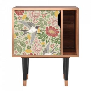 Noptiera multicolora din MDF si lemn Spring Swallow Furny